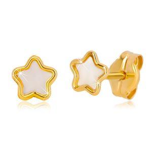 14K złote kolczyki z motywem gwiazdy z naturalną perłą