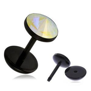 Akrylowy fake plug do ucha - tęczowy kamyczek