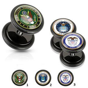 Akrylowy fałszywy plug czarnego koloru, wojskowy motyw, czarne gumki - Motívy: 03.