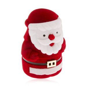 Aksamitne pudełeczko na pierścionek, czerwono-biała postać Mikołaja