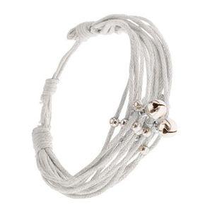 Beżowa bransoletka Multi ze sznurków, koraliki i dzwoneczki srebrnego koloru