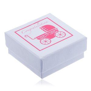 Białe pudełeczko na biżuterię z różowym wózeczkiem