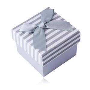 Biało-szare pudełko na pierścionek lub kolczyki - wzór w paski z kokardką