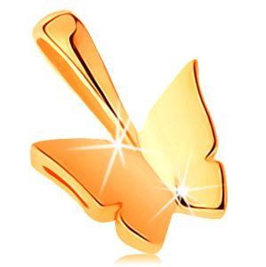 Błyszcząca zawieszka z żółtego 14K złota - mały lśniący motylek