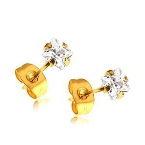 Błyszczące kolczyki - stal 316L, złoty odcień, kwadratowa cyrkonia bezbarwnego koloru, wkręty