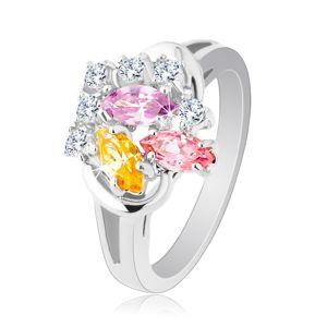 Błyszczący pierścionek, kolorowe cyrkoniowe ziarenka i okrągłe przezroczyste cyrkonie, ramiona z połyskiem - Rozmiar : 56