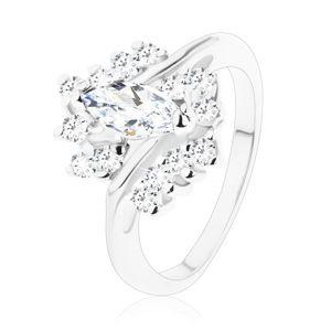Błyszczący pierścionek o wąskich ramionach, ziarno i cyrkonie bezbarwnego koloru - Rozmiar : 61
