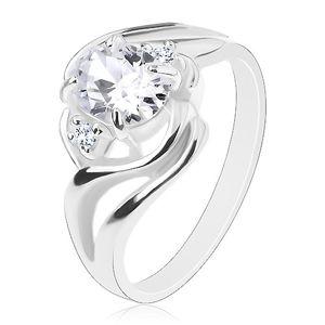 Błyszczący pierścionek, rozdzielone faliste ramiona, duża owalna cyrkonia bezbarwnego koloru - Rozmiar : 57