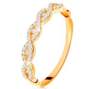 Błyszczący pierścionek z żółtego 14K złota - rozdzielone przeplecione ramiona, cyrkonie - Rozmiar : 51