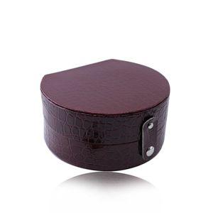 Bordowe pudełko na biżuterię - imitacja skóry krokodyla, półokrągły kształt, zapięcie na napy