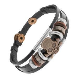 Bransoletka z brązowych skórzanych pasków z koralikami z metalu i drewna, czaszka