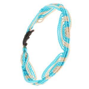Bransoletka z kremowobiałych i akwamarynowych sznurków, motyw fal