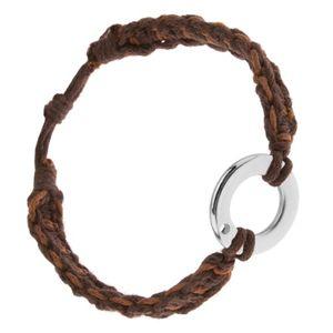 Bransoletka z orzechowych i czekoladowych sznurków, okrągła zawieszka