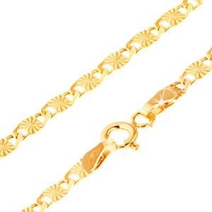 Bransoletka z żółtego złota 14K, większe płaskie ogniwa z promienistymi rowkami, 200 mm