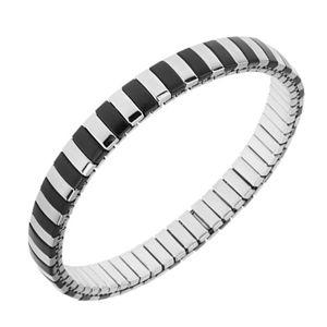 Bransoletka ze stali, srebrny i czarny kolor, wąskie paseczki, rozciągalny pasek