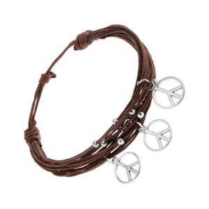 Bransoletka ze sznurków, brązowy kolor, srebrne kuleczki i zawieszki - znak pokoju