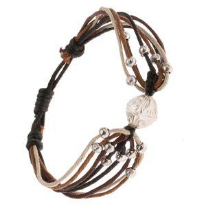 Bransoletka ze sznurków w beżowym, czarnym i brązowym kolorze, kulki, koralik
