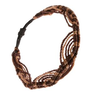 Bransoletka ze złotobrązowych i czekoladowo brązowych sznurków, wzór fal