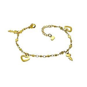 Bransoletka złotego koloru ze stali chirurgicznej - kontury serc i klucze