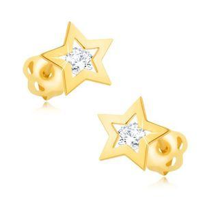 Brylantowe kolczyki z żółtego 14K złota - kontur gwiazdy, bezbarwny diament