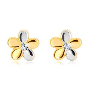Brylantowe kolczyki ze złota 585 - kwiat z pięcioma płatkami i diamentem