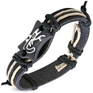 Czarna bransoletka ze sztucznej skóry - znaczek z jaszczurką, sznurek
