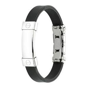Czarna gumowa bransoletka z gładką stalową wstawką