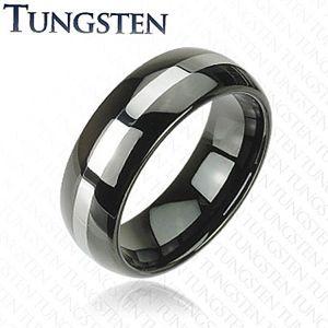 Czarna obrączka Tungsten, pas srebrnego koloru, zaokrąglona powierzchnia, 8 mm - Rozmiar : 57