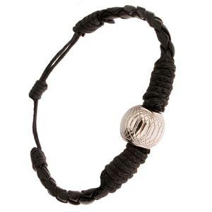 Czarna pleciona bransoletka owinięta sznurkiem, ozdobna kulka
