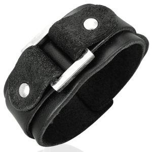 Czarna skórzana bransoletka dwuwarstwowa z kwadratem