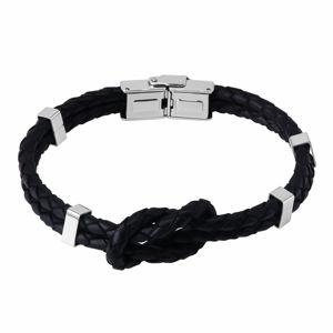 Czarna skórzana bransoletka - węzeł z dwóch warkoczy, metalowe klipsy, zapięcie zegarkowe