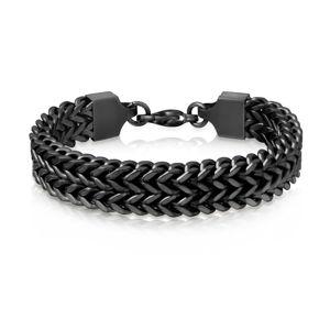 Czarna stalowa bransoletka - matowe czarne oczka tworzące podwójny kwadratowy warkocz, karabińczyk, 12 mm - Długość : 230 mm