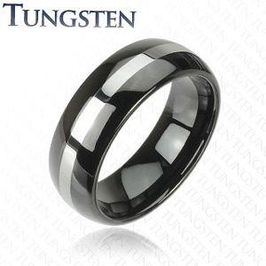 Czarna wolframowa obrączka ze srebrnym pasem, 6 mm - Rozmiar : 59
