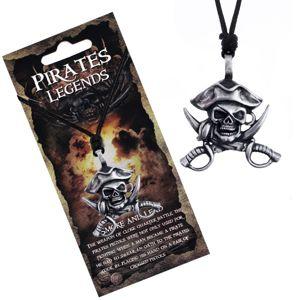Czarny naszyjnik - metalowa czaszka pirata z kapeluszem i mieczami