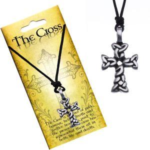 Czarny naszyjnik - sznurek, krzyż z przeplatanych owali