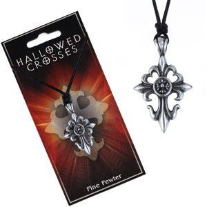 Czarny sznurek na szyję z zawieszką liliowego krzyża z kółkiem