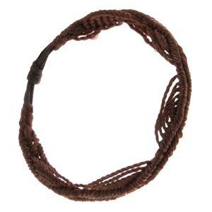 Czekoladowo brązowa bransoletka ze sznurków, motyw fal