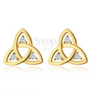 Diamentowe kolczyki z 14K złota - symbol Triquetry, bezbarwne brylanty, sztyfty