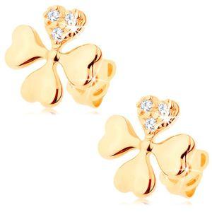 Diamentowe kolczyki z żółtego 14K złota - czterolistna koniczyna z czterech serc