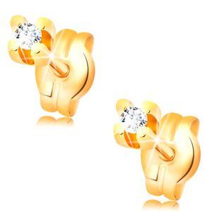 Diamentowe kolczyki z żółtego 14K złota - okrągły brylant bezbarwnego koloru 1,5 mm