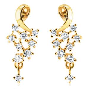 Diamentowe kolczyki z żółtego 14K złota - lśniąca pętla, bezbarwne diamenty, sztyfty