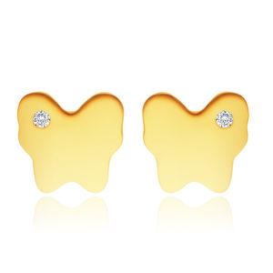 Diamentowe kolczyki z żółtego 14K złota - motyl z małym bezbarwnym brylantem