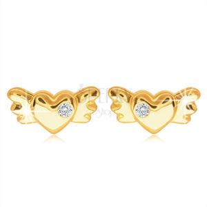 Diamentowe kolczyki z żółtego 14K złota - serce ze skrzydłami i brylantem bezbarwnego koloru