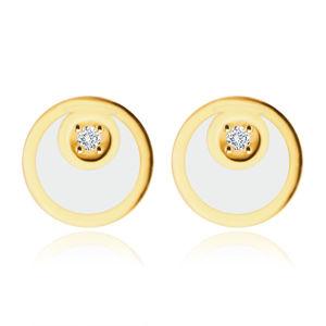 Diamentowe kolczyki z żółtego złota 585 - krążek w kształcie księżyca, błyszczący brylant