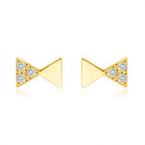 Diamentowe kolczyki z żółtego złota 585 - motyw męskiej kokardki, okrągłe brylanty
