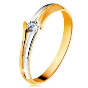 Diamentowy złoty pierścionek 585, błyszczący bezbarwny brylant, rozdzielone dwukolorowe ramiona - Rozmiar : 56