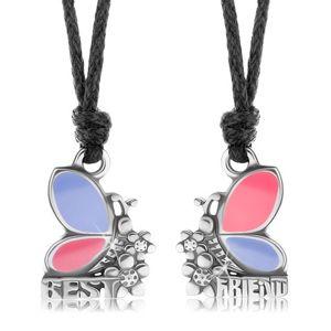 Dwa naszyjniki dla przyjaciół, różowo-fioletowe motyle, kwiatki, BEST FRIEND