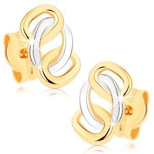 Dwukolorowe kolczyki z 9K złota - lśniące połączone obręcze, sztyfty
