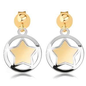 Dwukolorowe kolczyki ze złota 9K - matowa gwiazdka w lśniącym zarysie koła
