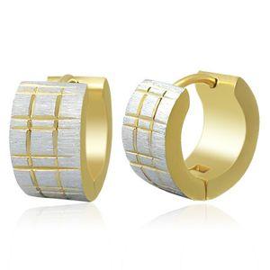 Dwukolorowe stalowe kolczyki - matowe krążki z nacięciami złotego koloru